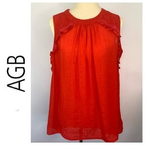 AGB Lace Ruffle Trim Sleeveless Blouse Red XL